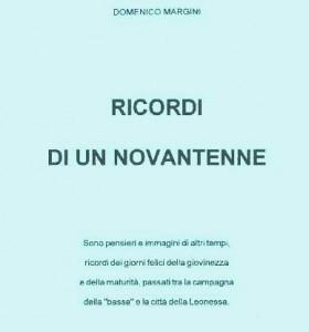 """Copertina del fascicolo """"Ricordi di un novantenne"""", stampato per il novantesimo compleanno di Domenico Margini."""